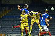 AFC Wimbledon Forward, Joe Piggott (39) scores a goal to make it 1-1 during the Carabao Cup match between Portsmouth and AFC Wimbledon at Fratton Park, Portsmouth, England on 14 August 2018.