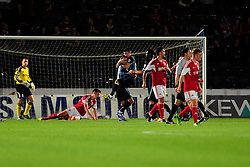 Wycombe Wanderers' Staurt Lewis celebrates his goal. - Photo mandatory by-line: Joe Dent/JMP - Tel: Mobile: 07966 386802 08/10/2013 - SPORT - FOOTBALL - London Road Stadium - Peterborough - Peterborough United V Brentford - Johnstone Paint Trophy