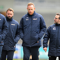 TELFORD COPYRIGHT MIKE SHERIDAN Gavin Cowan with Phil Trainer (assistant manager), Jamie Haynes (coach) and Mark Sherville (coach) during the Vanarama National League Conference North fixture between AFC Telford United and Spennymoor Town on Saturday, November 16, 2019.<br /> <br /> Picture credit: Mike Sheridan/Ultrapress<br /> <br /> MS201920-030