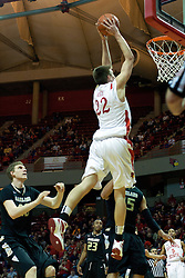 18 February 2012:  Jon Ekey comes in hard but puts the two handed stuff in gently during an ESPN Bracketbuster mens basketball game Where the Oakland Golden Grizzlies lost to the Illinois State Redbirds 79-75 in Redbird Arena, Normal IL