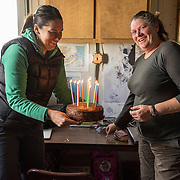 Back at Lake Hoare, Renee Noffke and Rae Spain firing up Thomas Nylen's 50th birthday cake. Renee was my guide through all my trekking in the Taylor Valley, a huge Thank You to Renee for taking time from her other duties at Lake Hoare to show me around the valley.