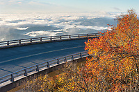 The Linn Cove Viaduct along the Blue Ridge Parkway in Western North Carolina wraps around the flanks of Grandfather Mountain.