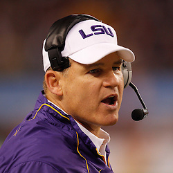 Jan 7, 2011; Arlington, TX, USA; LSU Tigers head coach Les Miles reacts from the sideline during the fourth quarter of the 2011 Cotton Bowl against the Texas A&M Aggies at Cowboys Stadium. LSU defeated Texas A&M 41-24.  Mandatory Credit: Derick E. Hingle