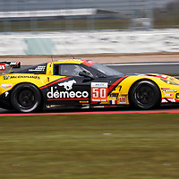 The no.50 Larbre Competition Corvette on its way to setting the quickest GTE Am time during the Friday morning practice, FIA WEC 2013 6h Silverstone