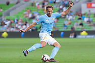 MELBOURNE, VIC - JANUARY 11: Melbourne City midfielder Rostyn Griffiths (7) crosses the ball at the Hyundai A-League Round 13 soccer match between Melbourne City FC and Brisbane Roar FC at AAMI Park in VIC, Australia 11th January 2019. (Photo by Speed Media/Icon Sportswire)