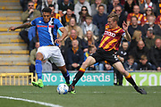 Stephen Darby challenges Nathaniel Mendez-Laing  during the EFL Sky Bet League 1 match between Rochdale and Bradford City at Spotland, Rochdale, England on 30 April 2017. Photo by Daniel Youngs.