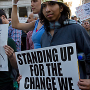 Grassroots, nonviolent efforts of the  Occupy Wall Street movement , the 99% protesters in Foley Square in lower Manhattan before they march to  Zuccotti Park. <br /> <br /> This movements is about income equality and social justice issues.