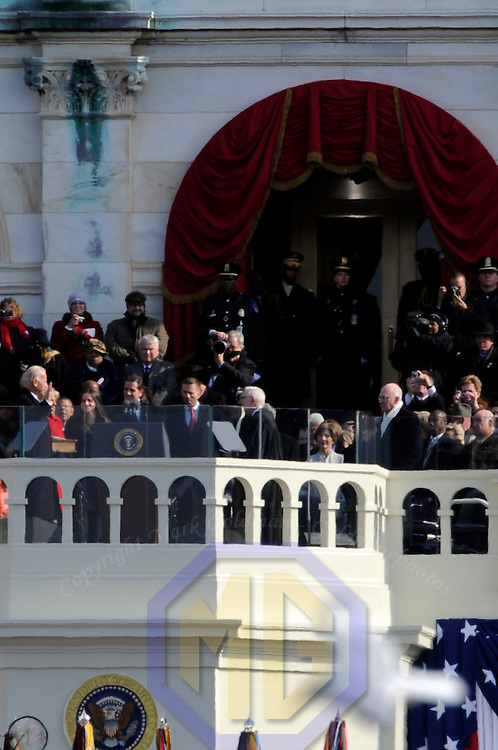 Joe Biden is sworn in as the Vice President of the United States of America during his Inauguration Ceremony on Capitol Hill in Washington on January 20, 2009.    (Mark Goldman/ Goldmine Photos)
