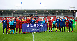 ST HELENS, ENGLAND - Wednesday, October 24, 2018: Liverpool and FK Crvena zvezda players line-up for a UEFA Equal Game joint team group photograph before the UEFA Youth League Group C match between Liverpool FC and FK Crvena zvezda at Langtree Park. (Pic by David Rawcliffe/Propaganda)