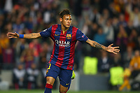 Neymar of FC Barcelona celebrates after scoring his side's opening goal during the UEFA Champions League football match quarter final, 2 leg, between FC Barcelona and Paris Saint Germain on April 21, 2015 at Camp Nou stadium in Barcelona, Spain.<br /> Photo Manuel Blondeau / AOP Press / DPPI