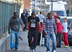 © Licensed to London News Pictures. 19/03/2012. London, U.K..Ashley Cole (middle) and Sean Wright Phillips (l) on 19/3/2012 on the way to the London chest Hospital to visit Fabrice Muamba this afternoon who is still in hospital after suffering A cardiac arrest in the FA Cup match Saturday 17/3/2012 at White Heart Lane against Tottenham Hotspur..Photo credit : Rich Bowen/LNP