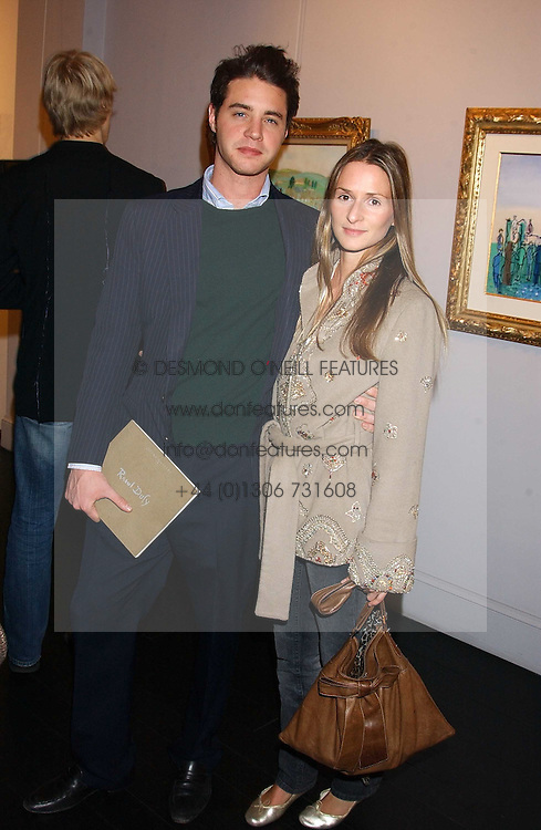 HARRY LANGTON and AMANDA CROSSLEY at the opening of an exhibition of paintings and watercolours by Raoul Dufy held at the Opera Gallery, 134 New Bond Street, London W1 on 6th February 2006.<br />