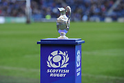 The trophy at the Guinness Pro 14 2017_18 match between Edinburgh Rugby and Glasgow Warriors at Myreside Stadium, Edinburgh, Scotland on 28 April 2018. Picture by Kevin Murray.