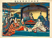 The Meiji Emperor of Japan with members of the Japanese Imperial family at the marriage of Crown Prince Yoshihito and Princess Sadako, May 1900.  After Torajiro Kasai, Japanese artist. Formality Ceremony Tradition