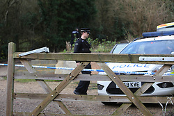 ©Lisenced to London News Pictures. 08/01/2014. London UK. The scene where a man was stabbed outside a house in a Surrey village. The man, in his 40s, was taken to hospital with injuries to his abdomen, which police say are not believed to be life-threatening. A man has been arrested on suspicion of grievous bodily harm with intent after the incident occurred in Kemsley Road, Tatsfield, Surrey. Photo Credit Grant Melton/LNP
