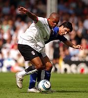 Photo: Daniel Hambury, Digitalsport<br /> Fulham v Everton.<br /> FA Barclays Premiership.<br /> 30/04/2005.<br /> Fulham's first goal scorer Collins John  and Everton's Mikel Arteta battle for the ball.