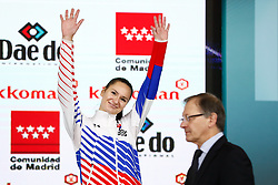 November 10, 2018 - Madrid, Madrid, Spain - Kopunova Miroslava (SVK) win the bronce medal and the third place of the tournament of Female Kumite -68 Kg during the Finals of Karate World Championship celebrates in Wizink Center, Madrid, Spain, on November 10th, 2018. (Credit Image: © AFP7 via ZUMA Wire)