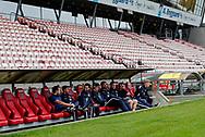 FODBOLD: FC Helsingørs spillere er ankommet til kampen i ALKA Superligaen mellem AaB og FC Helsingør den 15. oktober 2017 på Aalborg Stadion. Foto: Claus Birch