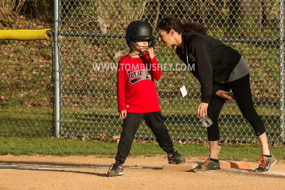 Warwick, New York - Warwick Little League girls' softball game on May 1, 2015.