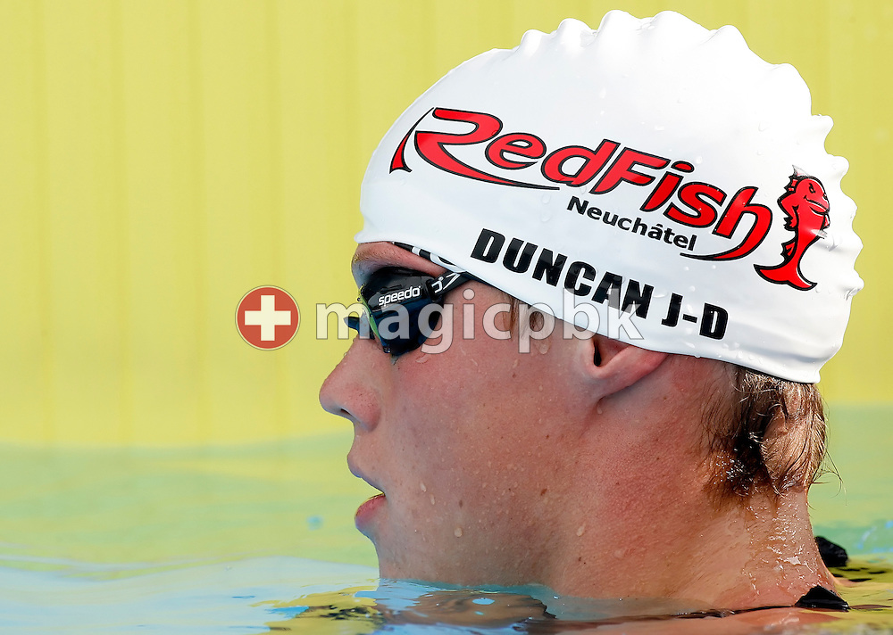Switzerland's Duncan JACOT-DESCOMBES reacts after competing in the boy's 100m butterfly final at the Youth and Junior Swiss Swimming Championships in Kreuzlingen, Switzerland, Saturday, July 12, 2008. (Photo by Patrick B. Kraemer / MAGICPBK)