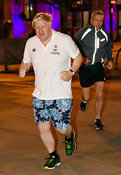 © Licensed to London News Pictures. 02/10/2017. Manchester, UK. Foreign secretary BORIS JOHNSON seen running on the morning of the second day of the Conservative Party Conference. The four day event is expected to focus heavily on Brexit, with the British prime minister hoping to dampen rumours of a leadership challenge. Photo credit: Ben Cawthra/LNP