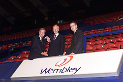 Nigel Potter CEO, Claes Hultman Chairman, and Mark ElIiott F.D, August 7, 2000. Photo by Andrew Parsons/i-Images.