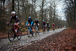 Roxane Fournier (FRA) and Maria Vittoria Sperotto (ITA) across the cobbles at Ronde van Drenthe 2019, a 165.7 km road race from Zuidwolde to Hoogeveen, Netherlands on March 17, 2019. Photo by Sean Robinson/velofocus.com