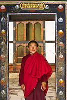 Novice monk at Tamshing Monastery, Tamshing village, Bumthang Village, Bhutan