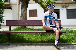 Lotta Lepistö (FIN) acts casual on a park bench before Emakumeen Bira 2018 - Stage 1, a 108 km road race starting and finishing in Legazpi, Spain on May 19, 2018. Photo by Sean Robinson/Velofocus.com