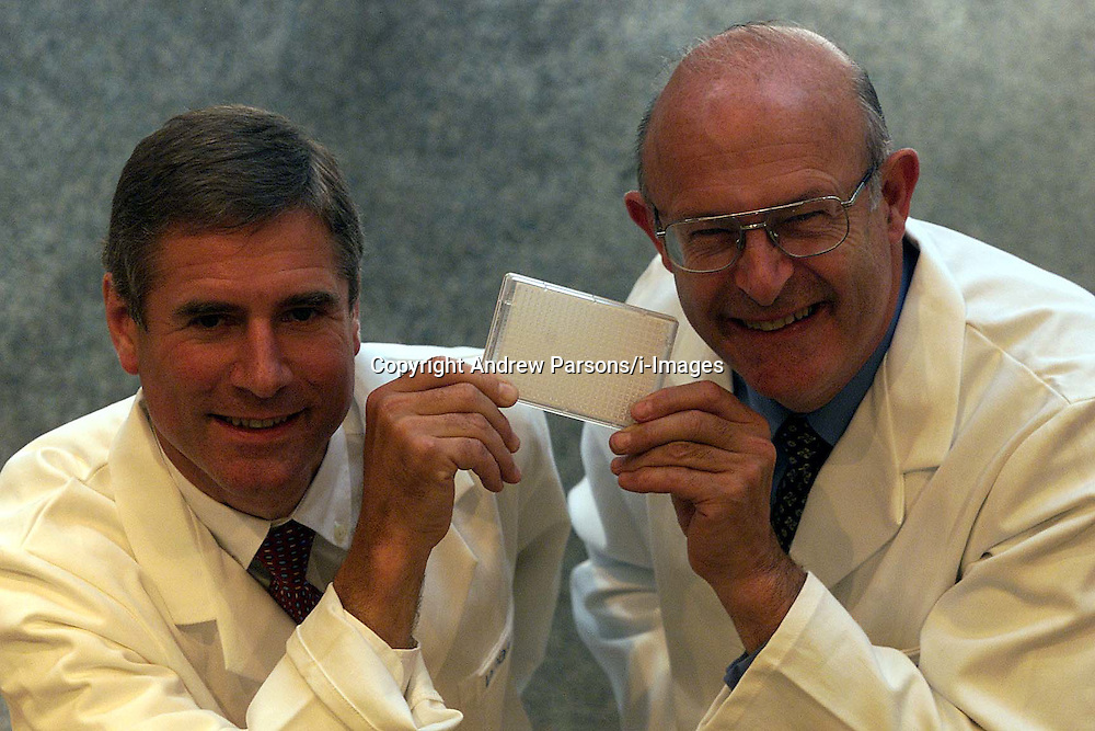Whatman Interim. L to R Harry Cooper F.D, David Smith Chief executive. They are holding their new product to be launched in October 2000, Dna Isolation and purification kits. Photo by Andrew Parsons/i-Images.All Rights Reserved ©Andrew Parsons/i-images.See Instructions.