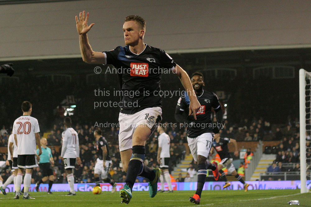 Alex Pearce of Derby County wheels away as he celebrates after scoring Derby's second goal. EFL Skybet championship match, Fulham v Derby county at Craven Cottage in London on Saturday 17th December 2016.<br /> pic by Steffan Bowen, Andrew Orchard sports photography.