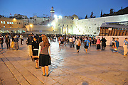 Israel, Jerusalem, Wailing Wall, Jews during Selichot prayers. Selichot (Selihot?) are Jewish penitential poems and prayers, especially those said in the period leading up to the High Holidays,