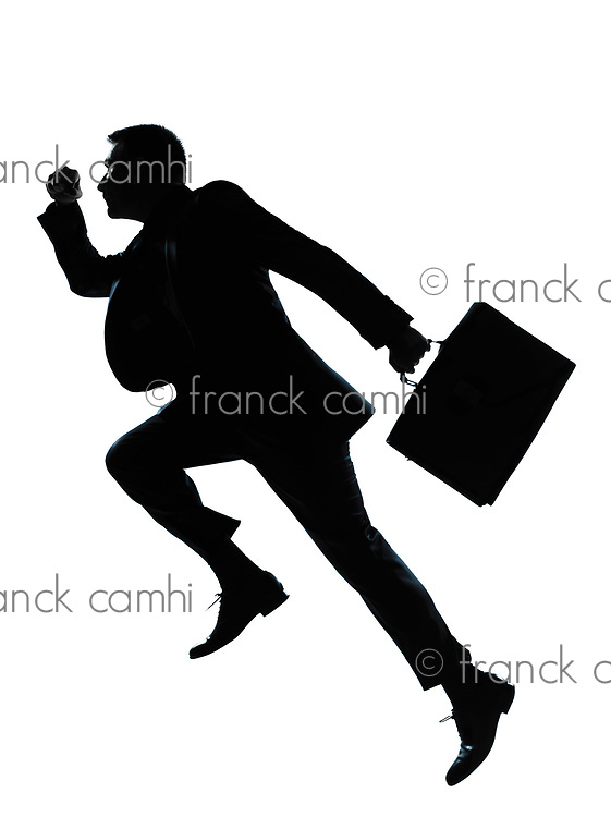 one caucasian business man jumping running  silhouette Full length in studio isolated on white background