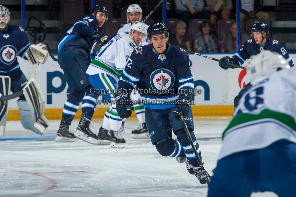 PENTICTON, CANADA - SEPTEMBER 8: Kody McDonald #92 of Winnipeg Jets blocks a pass against the Vancouver Canucks on September 8, 2017 at the South Okanagan Event Centre in Penticton, British Columbia, Canada.  (Photo by Marissa Baecker/Shoot the Breeze)  *** Local Caption ***