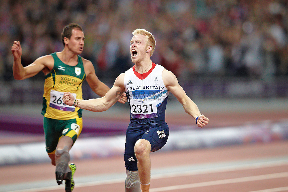 L-R Amu Fourie of South Africa and Jonnie Peacock of Great Britain in the men's 100 meter t44 Final on day 8 of the London 2012 Paralympic Games.