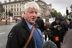 © Licensed to London News Pictures. 13/06/2019. London, UK. Stanley Johnson, father of Boris Johnson speaks to the media outuside Parliament.He is seen on the day of the first round of the Conservative Leadership constest. Photo credit: George Cracknell/LNP