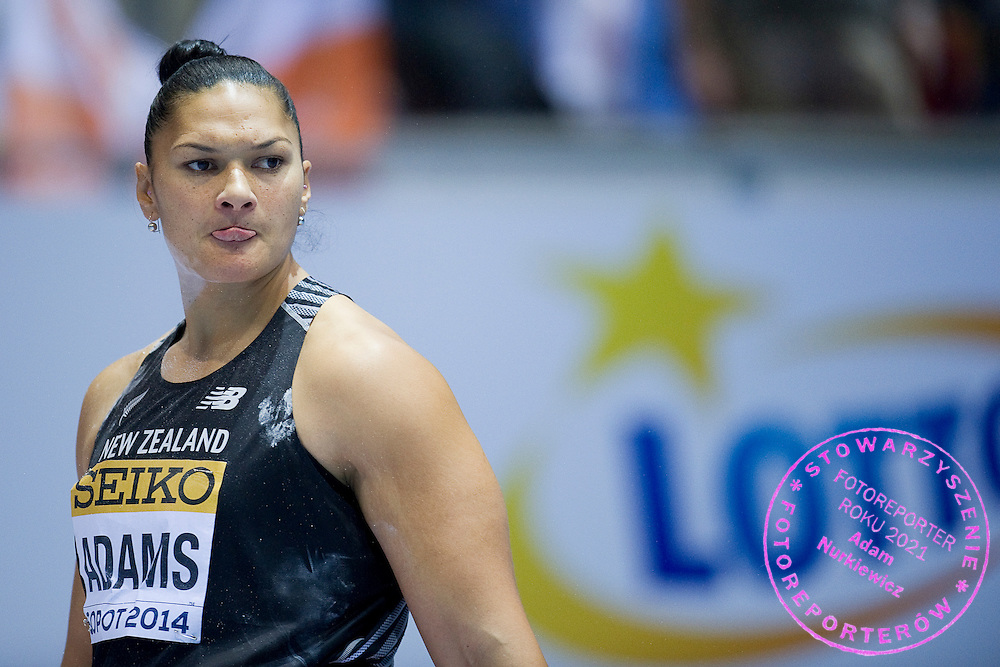 Valerie Adams of New Zealand competes in women's shot put final during the IAAF Athletics World Indoor Championships 2014 at Ergo Arena Hall in Sopot, Poland.<br /> <br /> Poland, Sopot, March 8, 2014.<br /> <br /> Picture also available in RAW (NEF) or TIFF format on special request.<br /> <br /> For editorial use only. Any commercial or promotional use requires permission.<br /> <br /> Mandatory credit:<br /> Photo by &copy; Adam Nurkiewicz / Mediasport