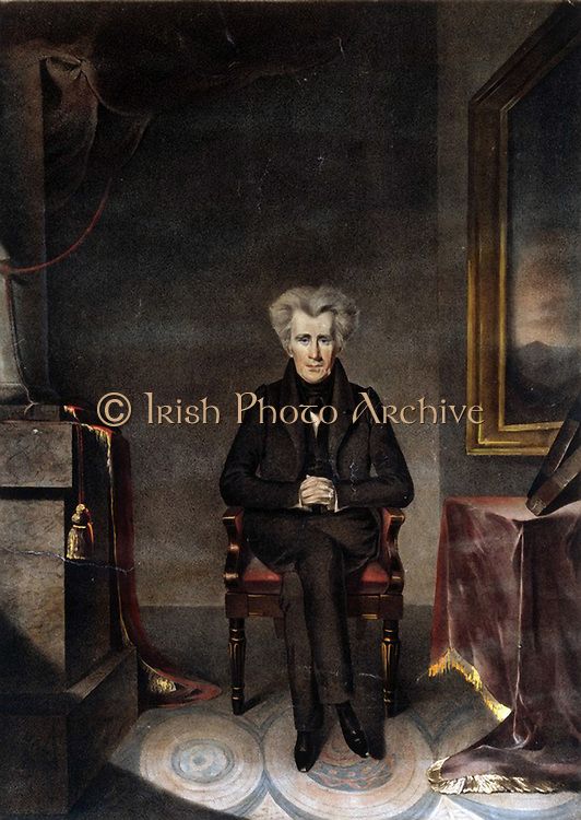 Andrew Jackson (1767-1845) American soldier and Seventh  President of the United States 1829-1837. Full-length portrait of Jackson seated beside a table. Coloured lithograph of the painting by William James Hubard (1807-1862).