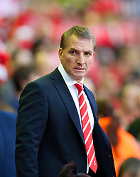 LIVERPOOL, ENGLAND - Tuesday, August 27, 2013: Liverpool's manager Brendan Rodgers during the Football League Cup 2nd Round match against Notts County at Anfield. (Pic by David Rawcliffe/Propaganda)