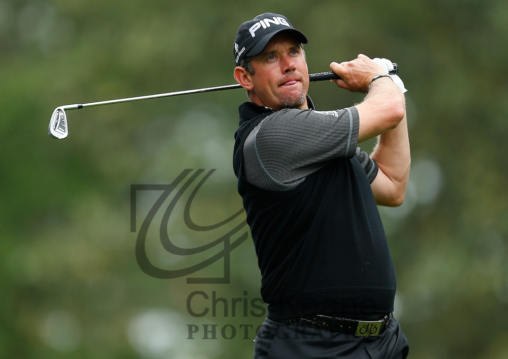 Lee Westwood of England watches his tee shot on the sixth hole during the first round of the Wells Fargo Championship at the Quail Hollow Club in Charlotte, North Carolina on May 2, 2013.  (Photo by Chris Keane - www.chriskeane.com)