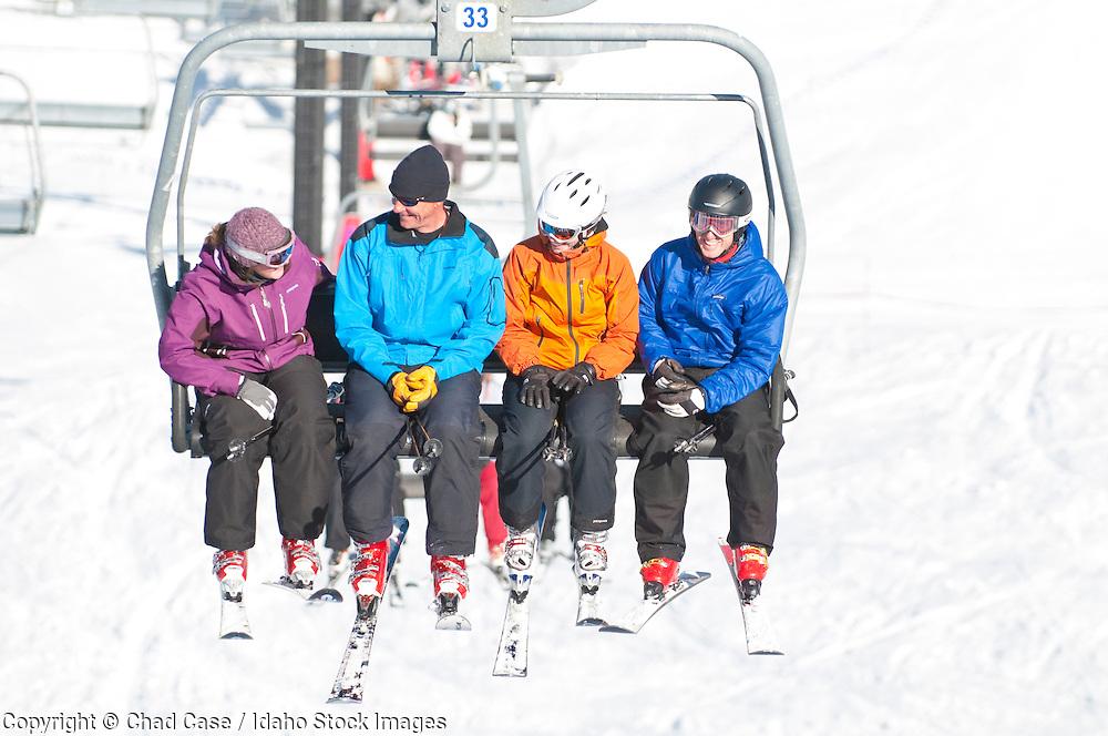 Skiers enjoying Bogus Basin Ski Resort near Boise, Idaho.
