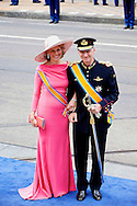 AMSTERDAM - De inhuldiging van Koning Willem Alexander. Met op de foto Prins Filip van België met zijn vrouw Mathilde. FOTO LEVIN DEN BOER - PERSFOTO.NU