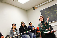 14 February, 2009. New York, NY. Sociology professor Nancy Foner listens to Immigrant students (and students that are children of immigrants) share their family histories in her class at Hunter College,<br /> <br /> ©2009 Gianni Cipriano for The New York Times<br /> cell. +1 646 465 2168 (USA)<br /> cell. +1 328 567 7923 (Italy)<br /> gianni@giannicipriano.com<br /> www.giannicipriano.com