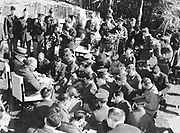 World War II 1939-1945: Casablanca Conference, Morocco, North Africa, January 1943, to plan the Allied war strategy. President Roosevelt, Prime Minister Winston Churchill at his side, speaking to the assembled war correspondents. 1943