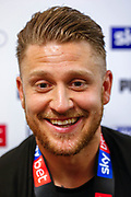 CHAMPIONS Luton Town midfielder George Moncur (20) in the post-match press conference after the EFL Sky Bet League 1 match between Luton Town and Oxford United at Kenilworth Road, Luton, England on 4 May 2019.
