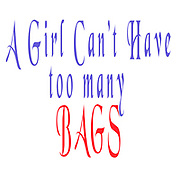 "Digitally enhanced image of the Text ""A Girl Can't have too many Bags"""