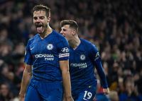 Football - 2019 / 2020 Premier League - Chelsea vs. Arsenal<br /> <br /> Cesar Azpilicueta (Chelsea FC) celebrates after he gives his team the lead at Stamford Bridge <br /> <br /> COLORSPORT/DANIEL BEARHAM