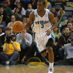 Jan 02, 2010; New Orleans, LA, USA; New Orleans Hornets guard Chris Paul (3) drives with the ball down the court against the Houston Rockets during the fourth quarter at the New Orleans Arena. Mandatory Credit: Derick E. Hingle-US PRESSWIRE
