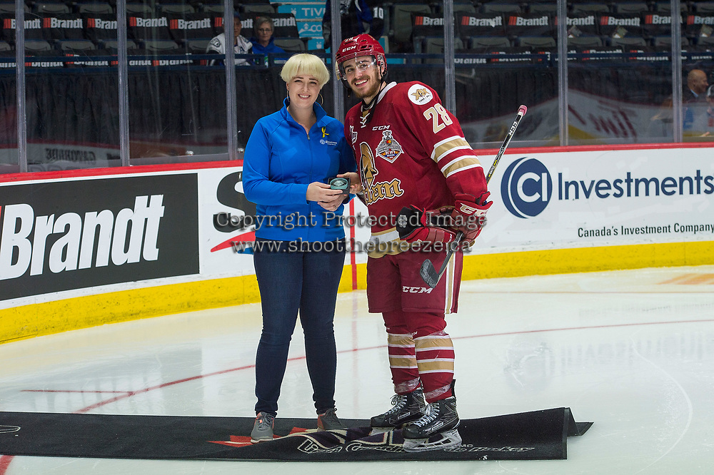 REGINA, SK - MAY 19: Samuel Asselin #28 of Acadie-Bathurst Titan receives the second star of the game against the Swift Current Broncos at the Brandt Centre on May 19, 2018 in Regina, Canada. (Photo by Marissa Baecker/CHL Images)