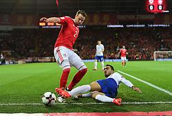 CAPTION CORRECTION * Aleksandar Ignjovski of Serbia tackles Chris Gunter of Wales - Mandatory by-line: Alex James/JMP - 12/11/2016 - FOOTBALL - Cardiff City Stadium - Cardiff, United Kingdom - Wales v Serbia - FIFA European World Cup Qualifiers